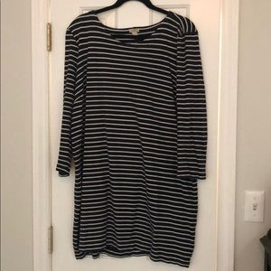 J crew navy and white striped dress